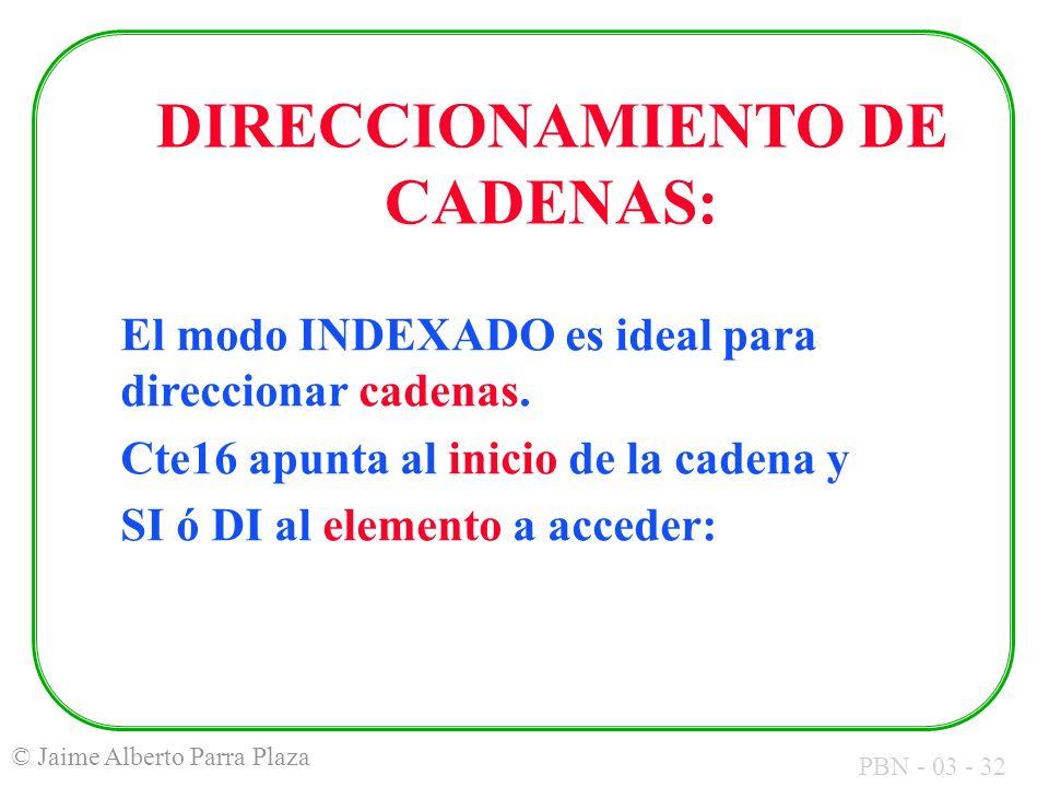 PBN - 03 - 32 © Jaime Alberto Parra Plaza El modo INDEXADO es ideal para direccionar cadenas. Cte16 apunta al inicio de la cadena y SI ó DI al element