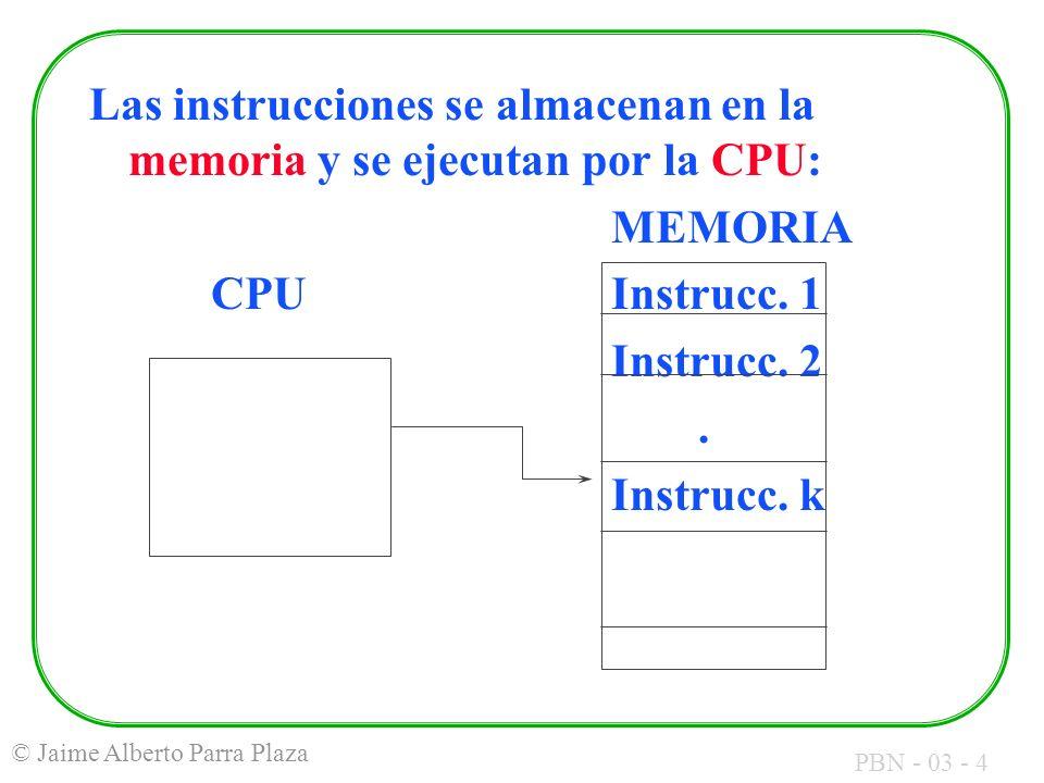 PBN - 03 - 4 © Jaime Alberto Parra Plaza Las instrucciones se almacenan en la memoria y se ejecutan por la CPU: MEMORIA CPUInstrucc. 1 Instrucc. 2. In
