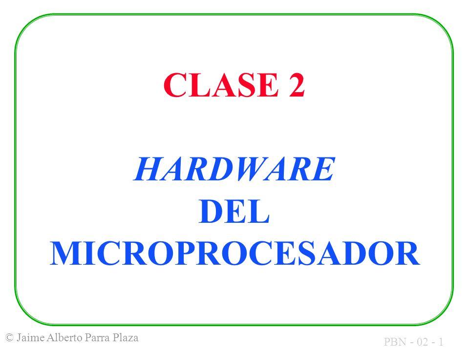 PBN - 02 - 12 © Jaime Alberto Parra Plaza EXPRESIONES PARA DESIGNAR CANTIDADES BINARIAS: Página: 256 bytes Segmento: 64 Kbytes Kilo: 2 10 Mega: 2 20 Giga: 2 30 Nibble: 4 bits Byte: 8 bits Word: 16 bits Double: 32 bits (2 Words) Párrafo: 16 bytes