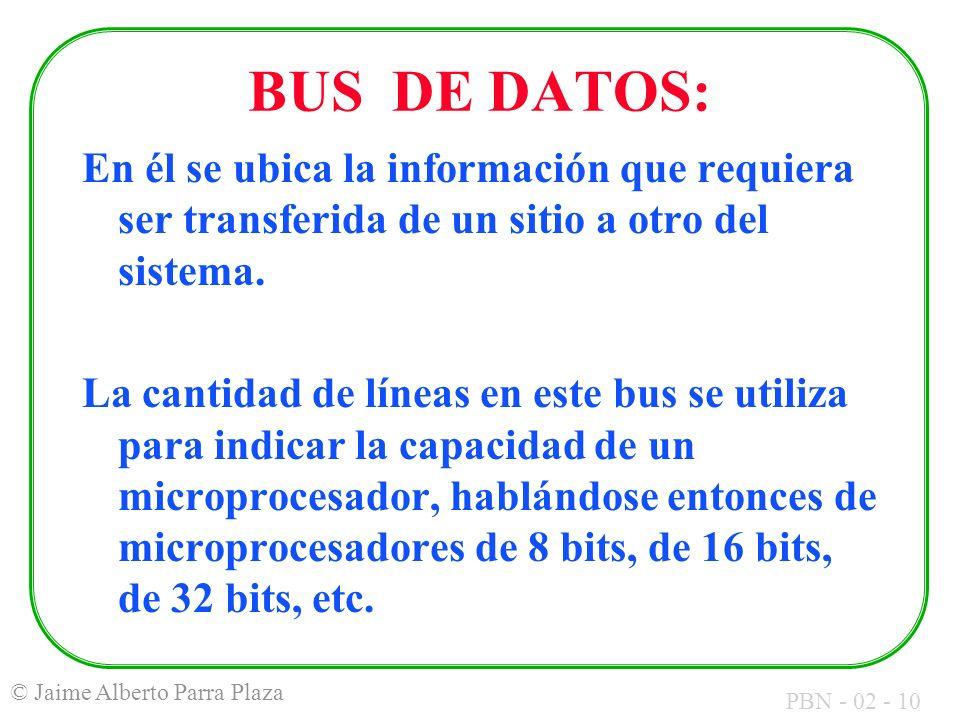 PBN - 02 - 10 © Jaime Alberto Parra Plaza BUS DE DATOS: En él se ubica la información que requiera ser transferida de un sitio a otro del sistema. La