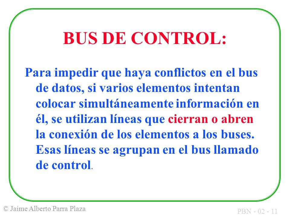 PBN - 02 - 11 © Jaime Alberto Parra Plaza BUS DE CONTROL: Para impedir que haya conflictos en el bus de datos, si varios elementos intentan colocar si