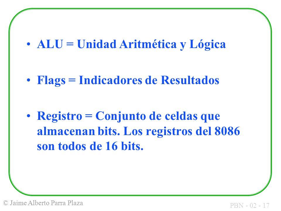 PBN - 02 - 17 © Jaime Alberto Parra Plaza ALU = Unidad Aritmética y Lógica Flags = Indicadores de Resultados Registro = Conjunto de celdas que almacen