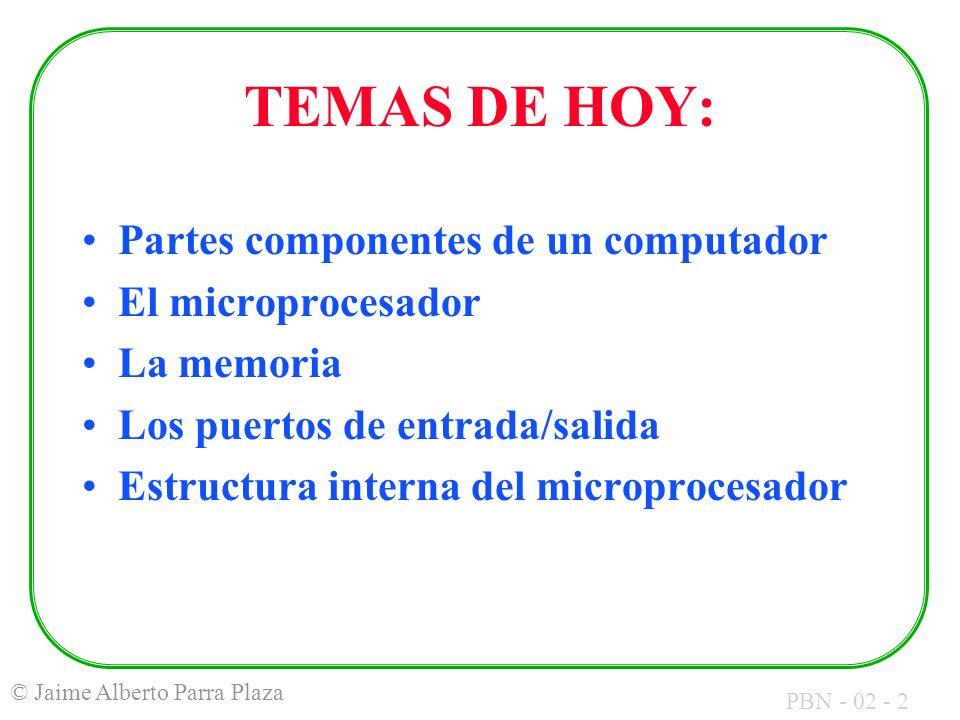 PBN - 02 - 13 © Jaime Alberto Parra Plaza CARACTERÍSTICAS DEL MICROCOMPUTADOR PERSONAL TIPO IBM (PC): Microprocesador: 8088 de Intel Bus de Direcciones: 20 líneas Bus de Datos: 8 líneas (1 byte) Bus de Control: Variable según el modelo Memoria direccionable: 1 Megabyte (1 MB) Puertos E/S direccionables: 1024 (1 Kilo)
