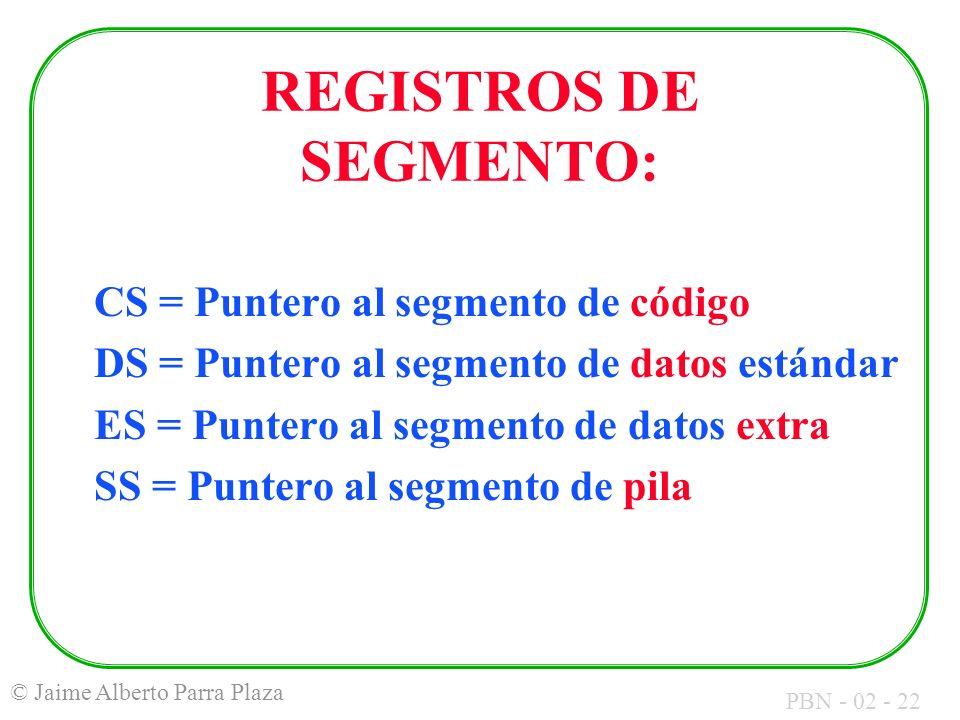 PBN - 02 - 22 © Jaime Alberto Parra Plaza REGISTROS DE SEGMENTO: CS = Puntero al segmento de código DS = Puntero al segmento de datos estándar ES = Pu
