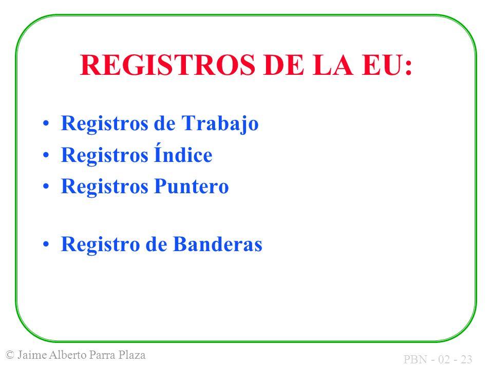 PBN - 02 - 23 © Jaime Alberto Parra Plaza REGISTROS DE LA EU: Registros de Trabajo Registros Índice Registros Puntero Registro de Banderas