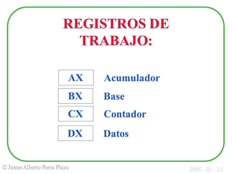 PBN - 02 - 24 © Jaime Alberto Parra Plaza AX Acumulador BX Base CX Contador DX Datos REGISTROS DE TRABAJO: