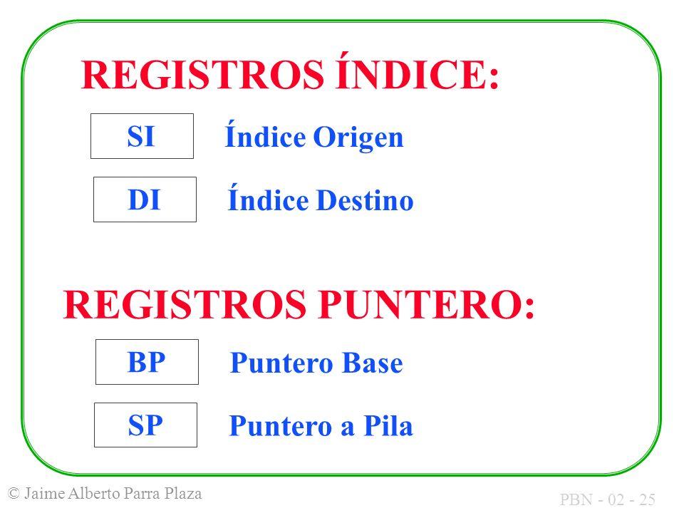 PBN - 02 - 25 © Jaime Alberto Parra Plaza DI Índice Destino SI Índice Origen BP Puntero Base SP Puntero a Pila REGISTROS ÍNDICE: REGISTROS PUNTERO: