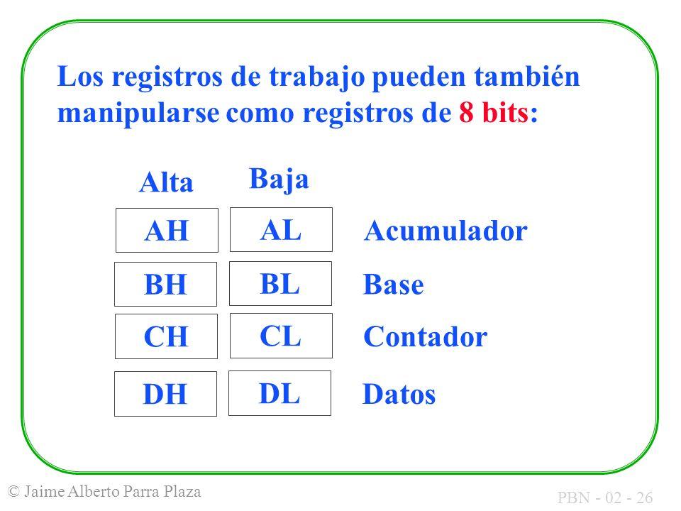 PBN - 02 - 26 © Jaime Alberto Parra Plaza Los registros de trabajo pueden también manipularse como registros de 8 bits: AL Acumulador BL Base CL Conta