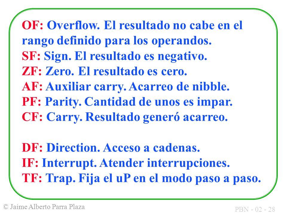 PBN - 02 - 28 © Jaime Alberto Parra Plaza OF: Overflow. El resultado no cabe en el rango definido para los operandos. SF: Sign. El resultado es negati
