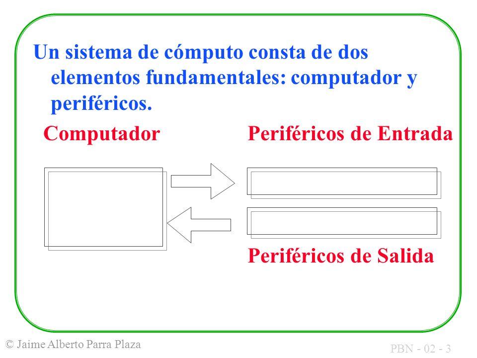 PBN - 02 - 3 © Jaime Alberto Parra Plaza Un sistema de cómputo consta de dos elementos fundamentales: computador y periféricos. Computador Periféricos
