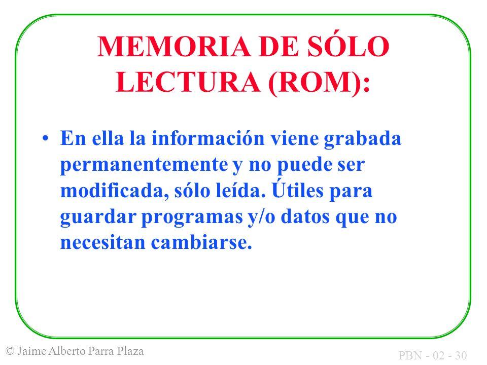 PBN - 02 - 30 © Jaime Alberto Parra Plaza MEMORIA DE SÓLO LECTURA (ROM): En ella la información viene grabada permanentemente y no puede ser modificad