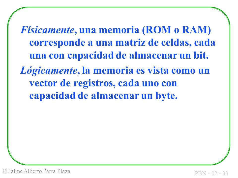PBN - 02 - 33 © Jaime Alberto Parra Plaza Físicamente, una memoria (ROM o RAM) corresponde a una matriz de celdas, cada una con capacidad de almacenar