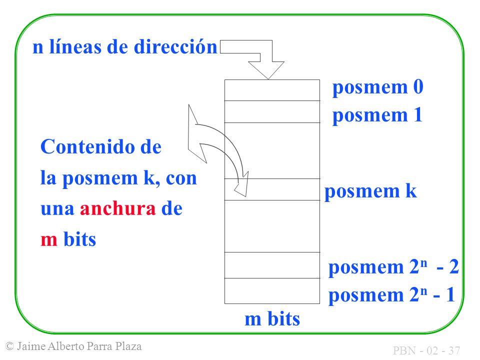 PBN - 02 - 37 © Jaime Alberto Parra Plaza posmem 0 posmem 1 posmem k posmem 2 n - 2 posmem 2 n - 1 n líneas de dirección Contenido de la posmem k, con