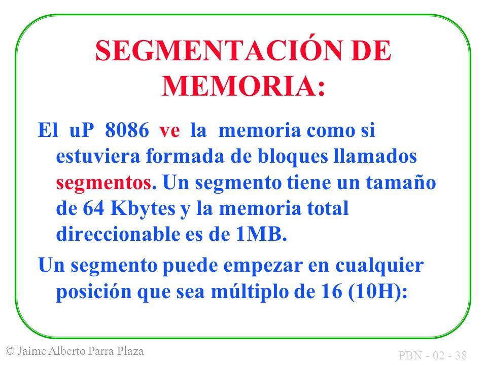 PBN - 02 - 38 © Jaime Alberto Parra Plaza SEGMENTACIÓN DE MEMORIA: El uP 8086 ve la memoria como si estuviera formada de bloques llamados segmentos. U