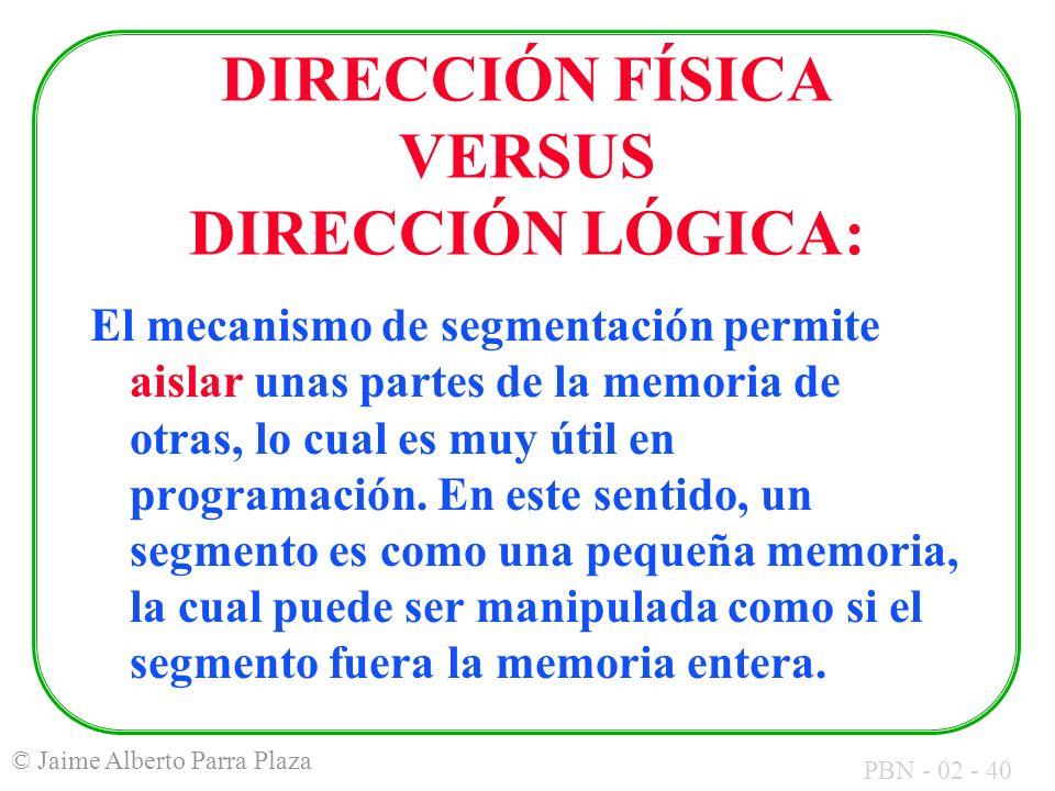 PBN - 02 - 40 © Jaime Alberto Parra Plaza DIRECCIÓN FÍSICA VERSUS DIRECCIÓN LÓGICA: El mecanismo de segmentación permite aislar unas partes de la memo