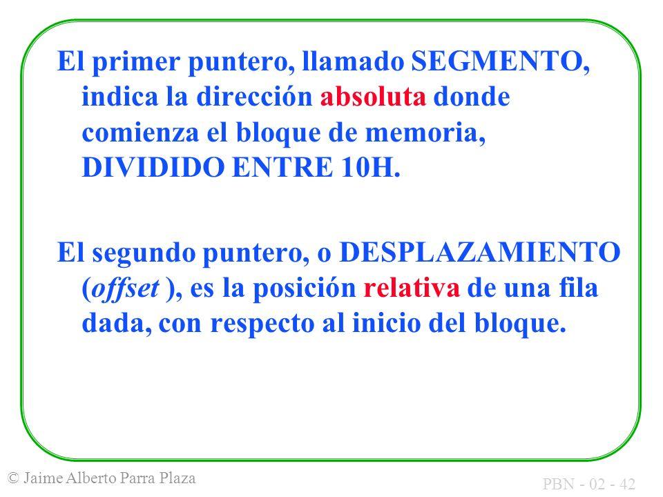 PBN - 02 - 42 © Jaime Alberto Parra Plaza El primer puntero, llamado SEGMENTO, indica la dirección absoluta donde comienza el bloque de memoria, DIVID
