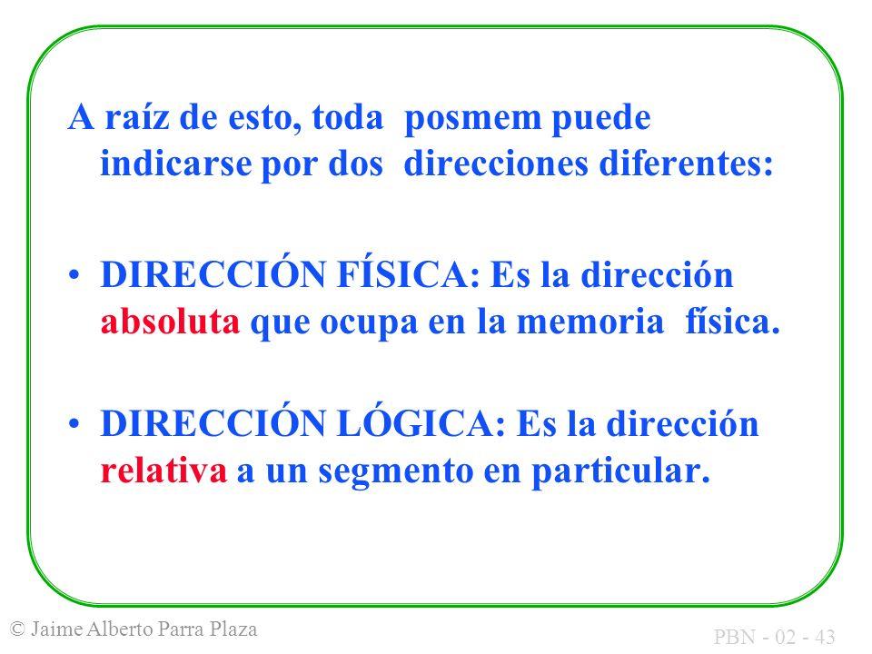 PBN - 02 - 43 © Jaime Alberto Parra Plaza A raíz de esto, toda posmem puede indicarse por dos direcciones diferentes: DIRECCIÓN FÍSICA: Es la direcció