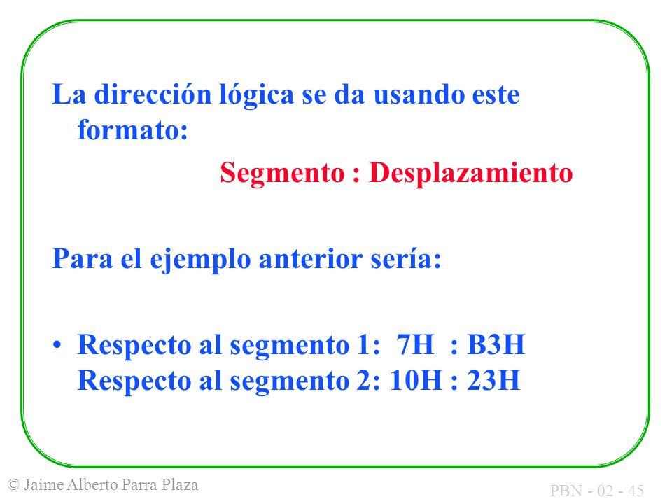 PBN - 02 - 45 © Jaime Alberto Parra Plaza La dirección lógica se da usando este formato: Segmento : Desplazamiento Para el ejemplo anterior sería: Res
