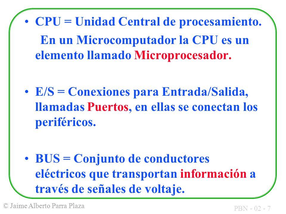 PBN - 02 - 7 © Jaime Alberto Parra Plaza CPU = Unidad Central de procesamiento. En un Microcomputador la CPU es un elemento llamado Microprocesador. E
