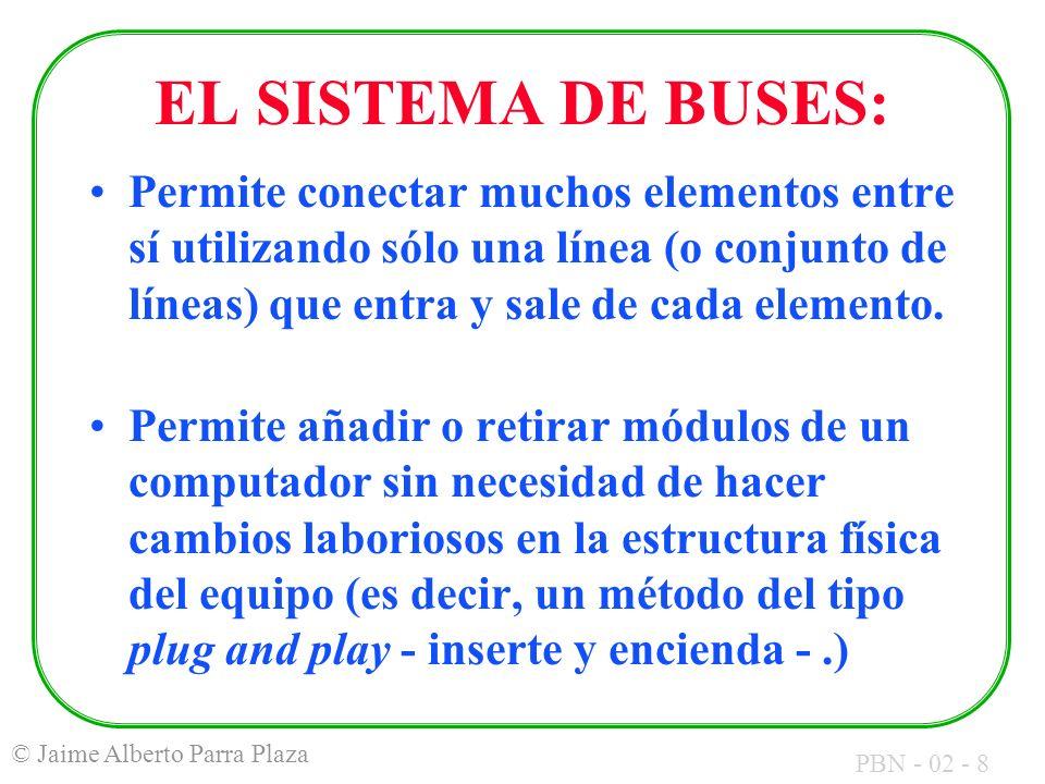 PBN - 02 - 8 © Jaime Alberto Parra Plaza EL SISTEMA DE BUSES: Permite conectar muchos elementos entre sí utilizando sólo una línea (o conjunto de líne