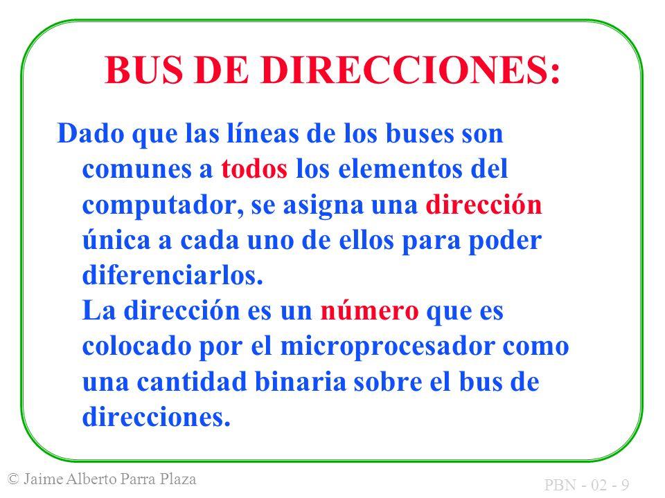 PBN - 02 - 10 © Jaime Alberto Parra Plaza BUS DE DATOS: En él se ubica la información que requiera ser transferida de un sitio a otro del sistema.