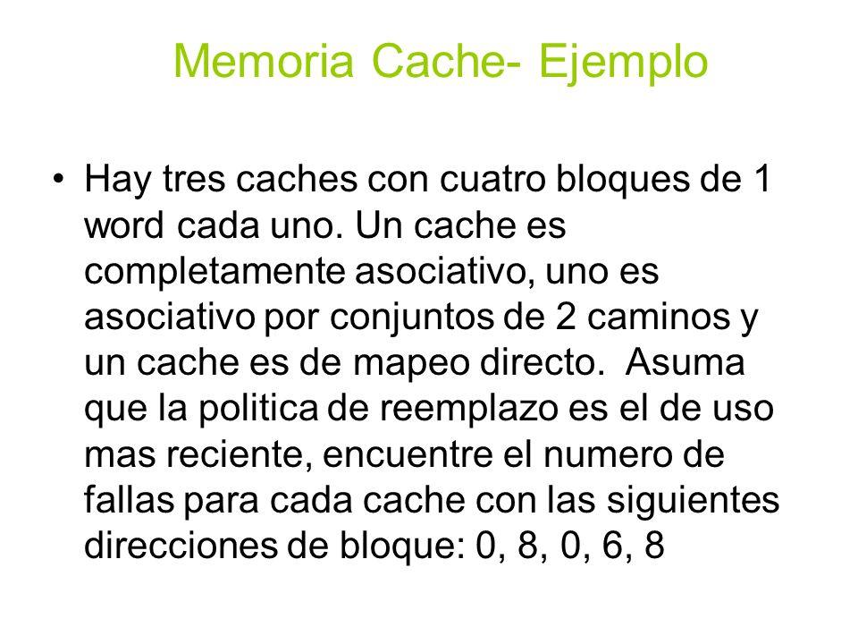 Hay tres caches con cuatro bloques de 1 word cada uno. Un cache es completamente asociativo, uno es asociativo por conjuntos de 2 caminos y un cache e