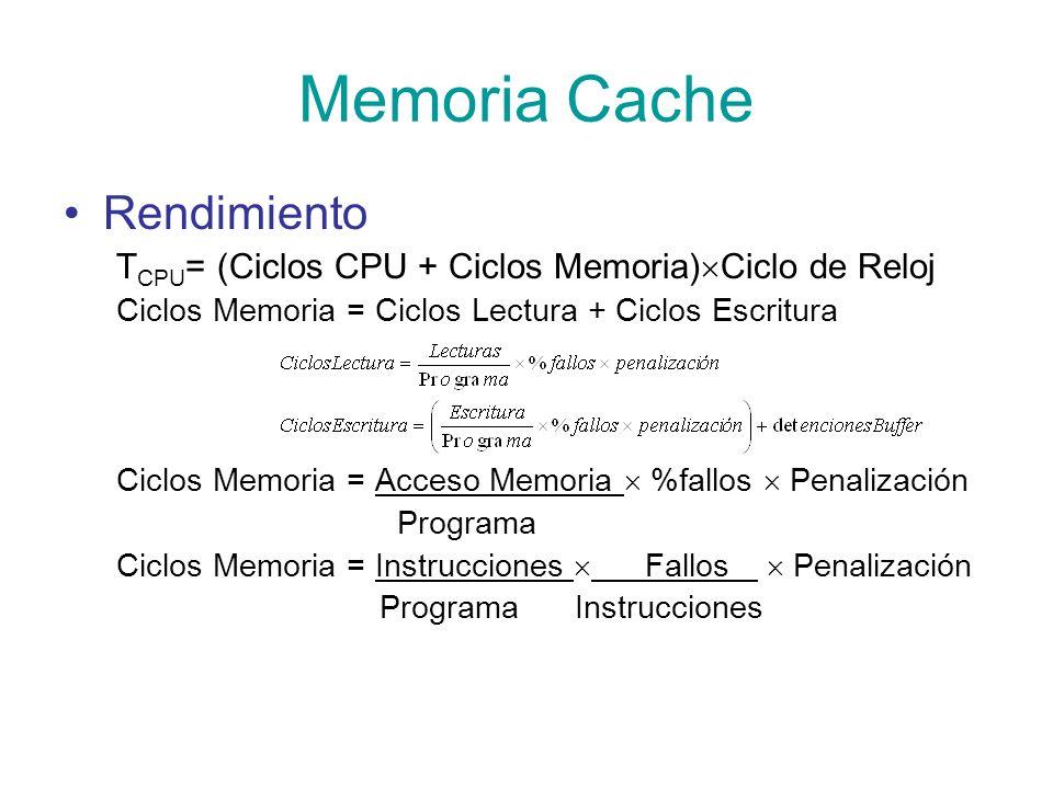 Memoria Cache Rendimiento T CPU = (Ciclos CPU + Ciclos Memoria) Ciclo de Reloj Ciclos Memoria = Ciclos Lectura + Ciclos Escritura Ciclos Memoria = Acc