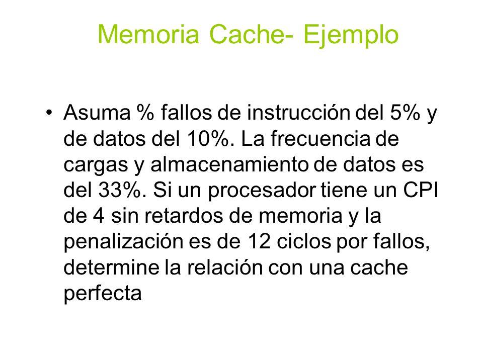 Ciclos de falla por instrucción= ICx5%x12=0.6xIC Ciclos de fallas por datos= ICx33%x10%x12=0.4xIC Ciclos de detencion de memoria= 0.6xIC+0.4xIC=1.0xIC Relación con detencion de memoria= (4+1)/4=1.25 Memoria Cache- Ejemplo