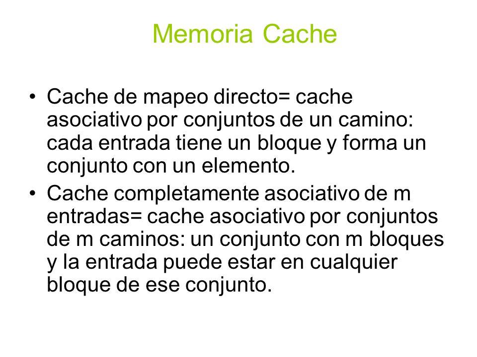 Cache de mapeo directo= cache asociativo por conjuntos de un camino: cada entrada tiene un bloque y forma un conjunto con un elemento. Cache completam