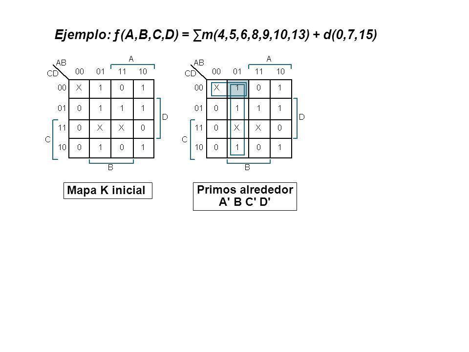Mapa K inicial Primos alrededor A' B C' D' Ejemplo: ƒ(A,B,C,D) = m(4,5,6,8,9,10,13) + d(0,7,15)