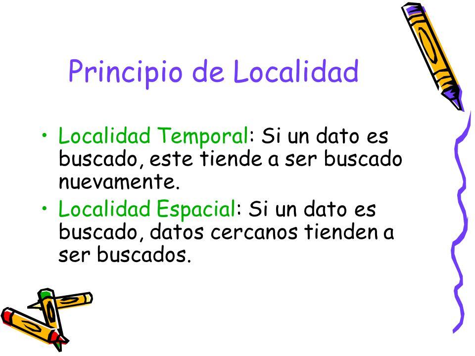 Principio de Localidad Localidad Temporal: Si un dato es buscado, este tiende a ser buscado nuevamente. Localidad Espacial: Si un dato es buscado, dat