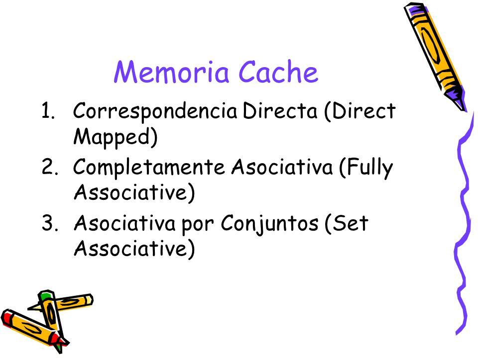 Memoria Cache 1.Correspondencia Directa (Direct Mapped) 2.Completamente Asociativa (Fully Associative) 3.Asociativa por Conjuntos (Set Associative)
