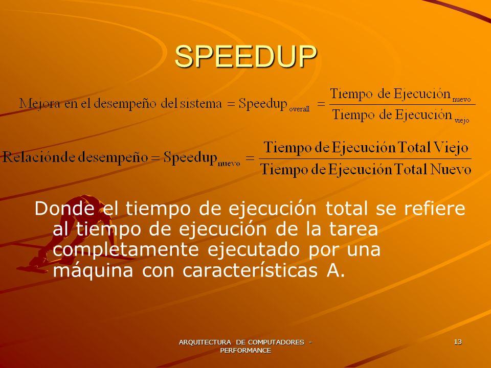 ARQUITECTURA DE COMPUTADORES - PERFORMANCE 13 SPEEDUP Donde el tiempo de ejecución total se refiere al tiempo de ejecución de la tarea completamente e