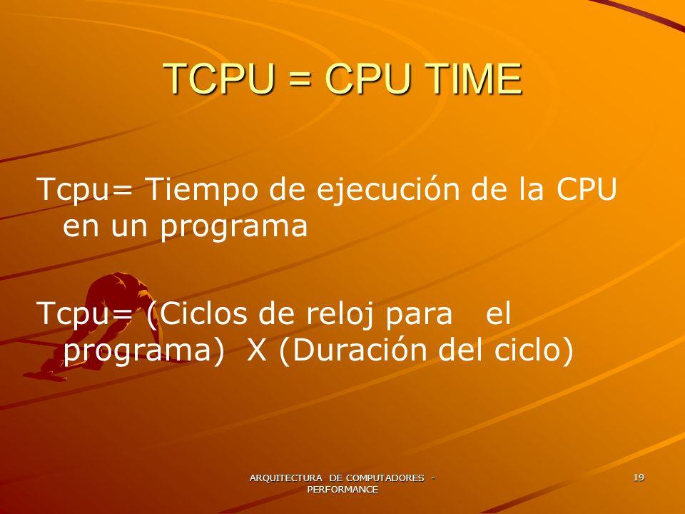 ARQUITECTURA DE COMPUTADORES - PERFORMANCE 19 TCPU = CPU TIME Tcpu= Tiempo de ejecución de la CPU en un programa Tcpu= (Ciclos de reloj para el progra
