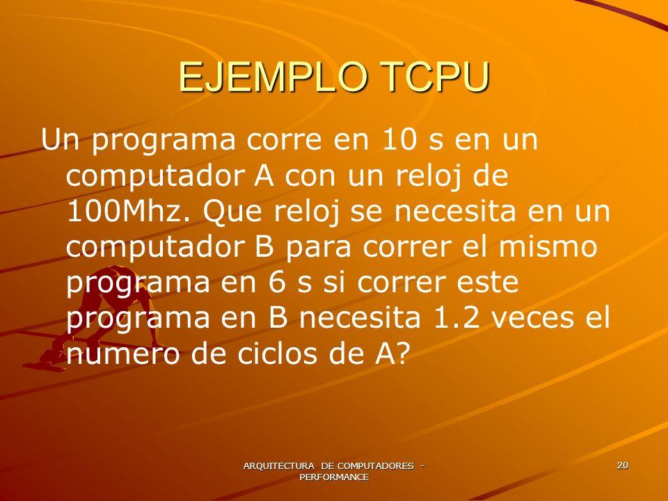ARQUITECTURA DE COMPUTADORES - PERFORMANCE 20 EJEMPLO TCPU Un programa corre en 10 s en un computador A con un reloj de 100Mhz. Que reloj se necesita