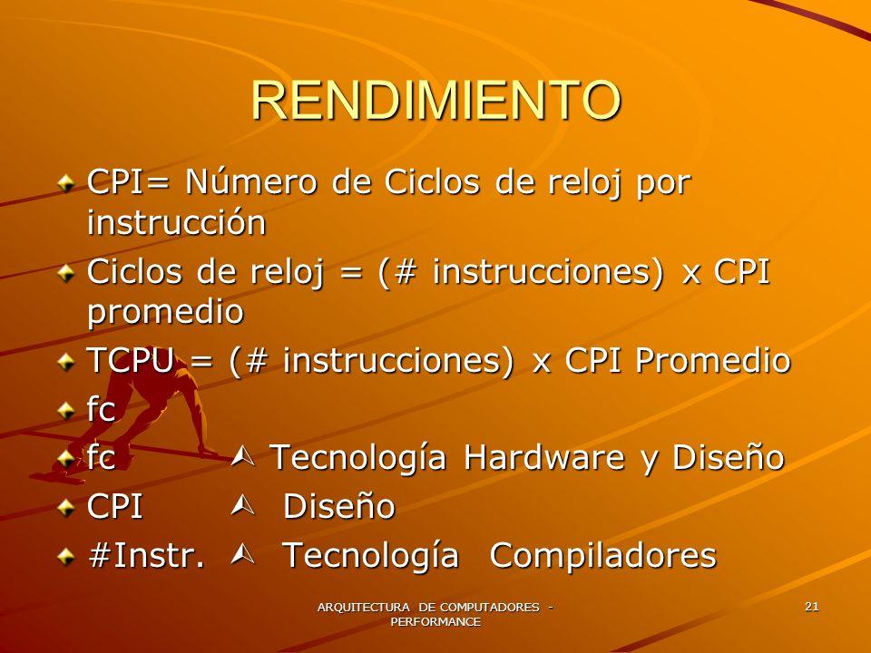 ARQUITECTURA DE COMPUTADORES - PERFORMANCE 21 RENDIMIENTO CPI= Número de Ciclos de reloj por instrucción Ciclos de reloj = (# instrucciones) x CPI pro