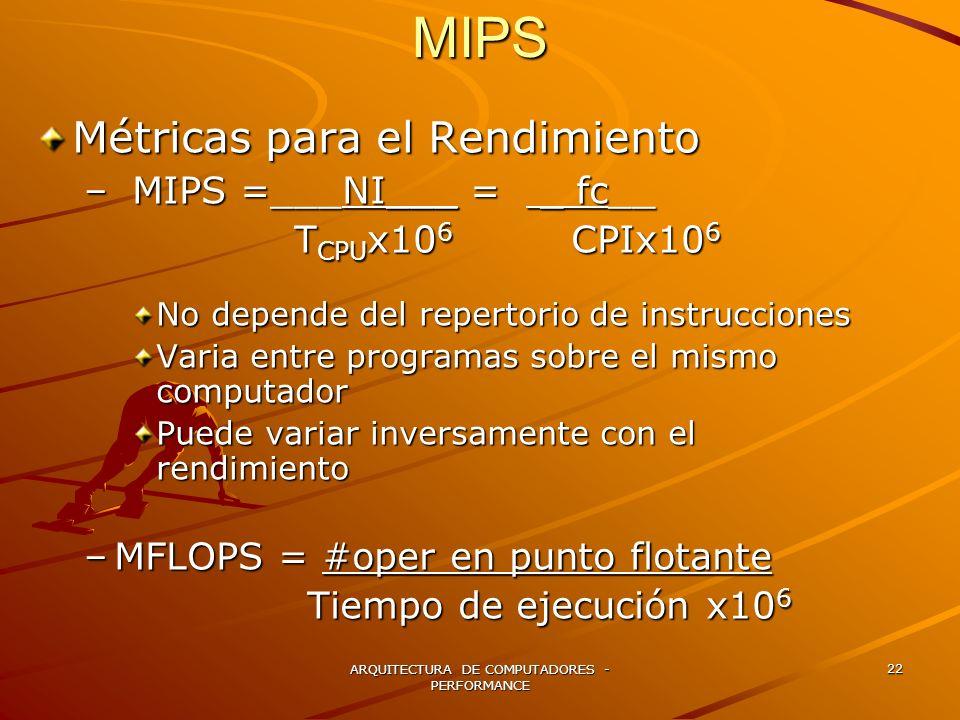 ARQUITECTURA DE COMPUTADORES - PERFORMANCE 22 Métricas para el Rendimiento –MIPS =___NI___ = _ fc__ T CPU x10 6 CPIx10 6 T CPU x10 6 CPIx10 6 No depen