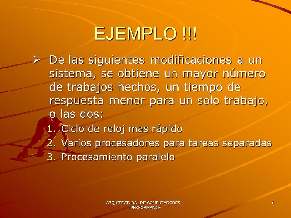 ARQUITECTURA DE COMPUTADORES - PERFORMANCE 26 SOLUCION CPU clock cycles = SUMATORIA (CPIi x Ci) CPU clock cycles (A) = [ (5*1+2*2+1*3) E6 ]=12 E6 CPU clock cycles (B) = [ (2*1+3*2+1*3) E6 ]=11 E6 EXECUTION TIME CPU CLOCK CYCLES / FRECUENCIA Execution Time (A) = 12 E6 / 150 E 6 = 0.0800 secs Execution Time (B) = 11 E6 / 150 E 6 = 0.0733 secs MIPS= INTRUCTION COUNT / EXECUTION TIEM X E6 MIPS (A) = [ (5*1+2*2+1*3) E6 ] / 0.0800 E6= 150 MIPS (B) = [ (2*1+3*2+1*3) E6 ] / 0.0733 E6=150.068