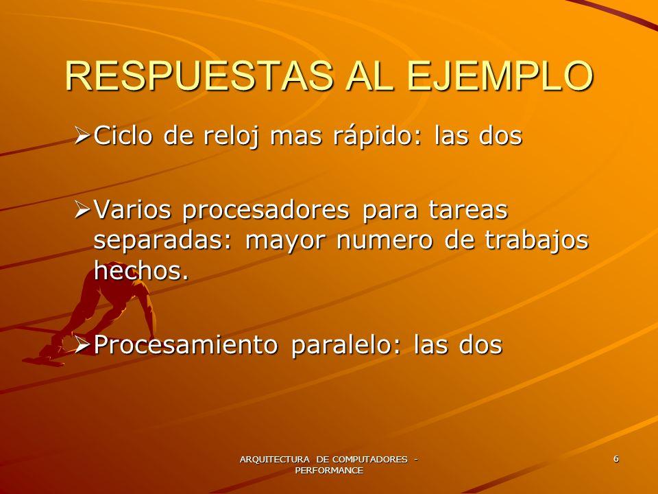 ARQUITECTURA DE COMPUTADORES - PERFORMANCE 27 SOFTWARE PARA LA EVALUACION DEL DESEMPEÑO Programas / Aplicaciones reales.