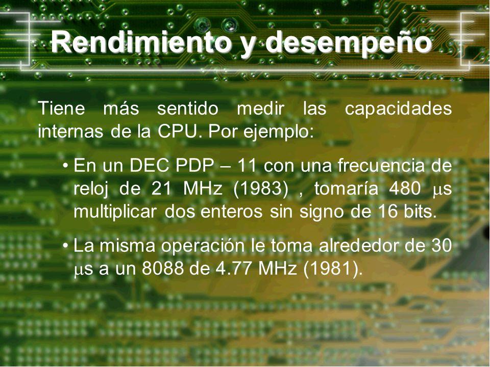 Rendimiento y desempeño Tiene más sentido medir las capacidades internas de la CPU. Por ejemplo: En un DEC PDP – 11 con una frecuencia de reloj de 21