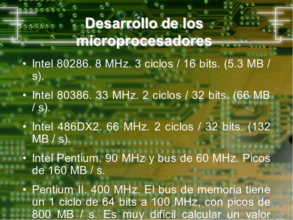 Desarrollo de los microprocesadores Intel 80286. 8 MHz. 3 ciclos / 16 bits. (5.3 MB / s). Intel 80386. 33 MHz. 2 ciclos / 32 bits. (66 MB / s). Intel