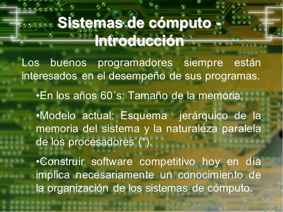 Los buenos programadores siempre están interesados en el desempeño de sus programas. En los años 60´s: Tamaño de la memoria. Modelo actual: Esquema je