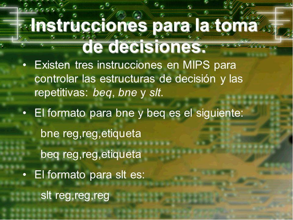 Instrucciones para la toma de decisiones. Existen tres instrucciones en MIPS para controlar las estructuras de decisión y las repetitivas: beq, bne y