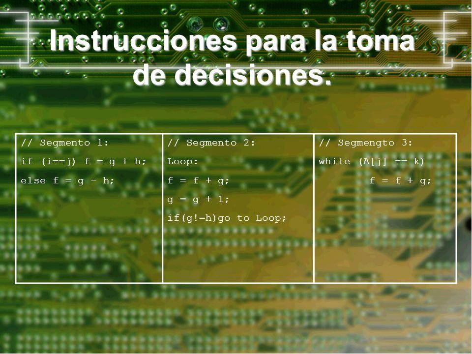 Instrucciones para la toma de decisiones. // Segmento 1: if (i==j) f = g + h; else f = g – h; // Segmento 2: Loop: f = f + g; g = g + 1; if(g!=h)go to