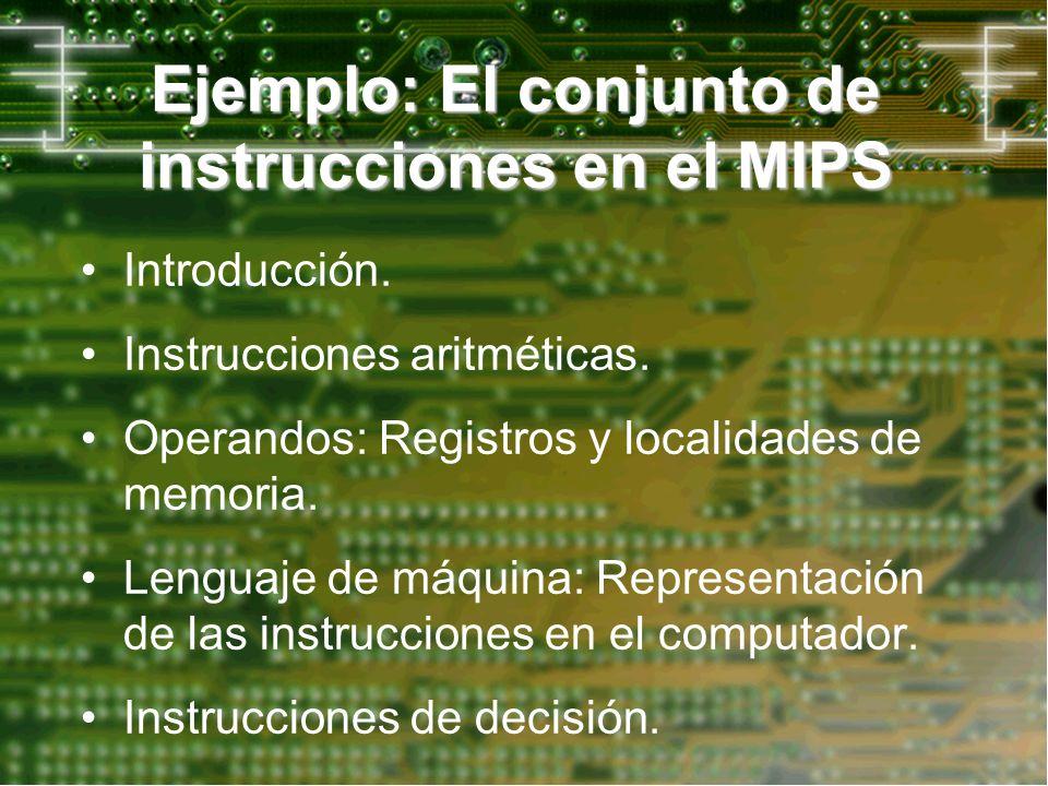 Introducción. Instrucciones aritméticas. Operandos: Registros y localidades de memoria. Lenguaje de máquina: Representación de las instrucciones en el