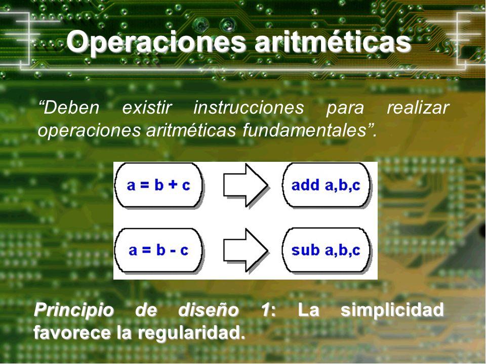 Operaciones aritméticas Deben existir instrucciones para realizar operaciones aritméticas fundamentales. Principio de diseño 1: La simplicidad favorec