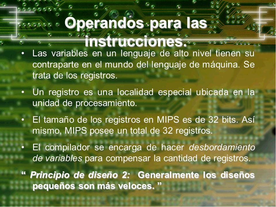 Operandos para las instrucciones. Las variables en un lenguaje de alto nivel tienen su contraparte en el mundo del lenguaje de máquina. Se trata de lo