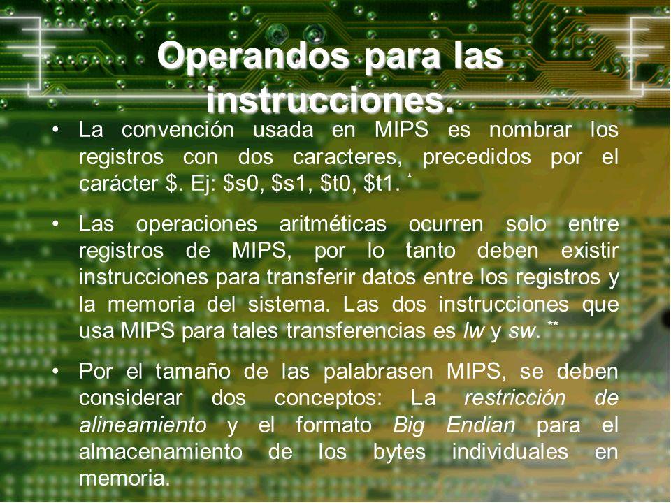Operandos para las instrucciones. La convención usada en MIPS es nombrar los registros con dos caracteres, precedidos por el carácter $. Ej: $s0, $s1,