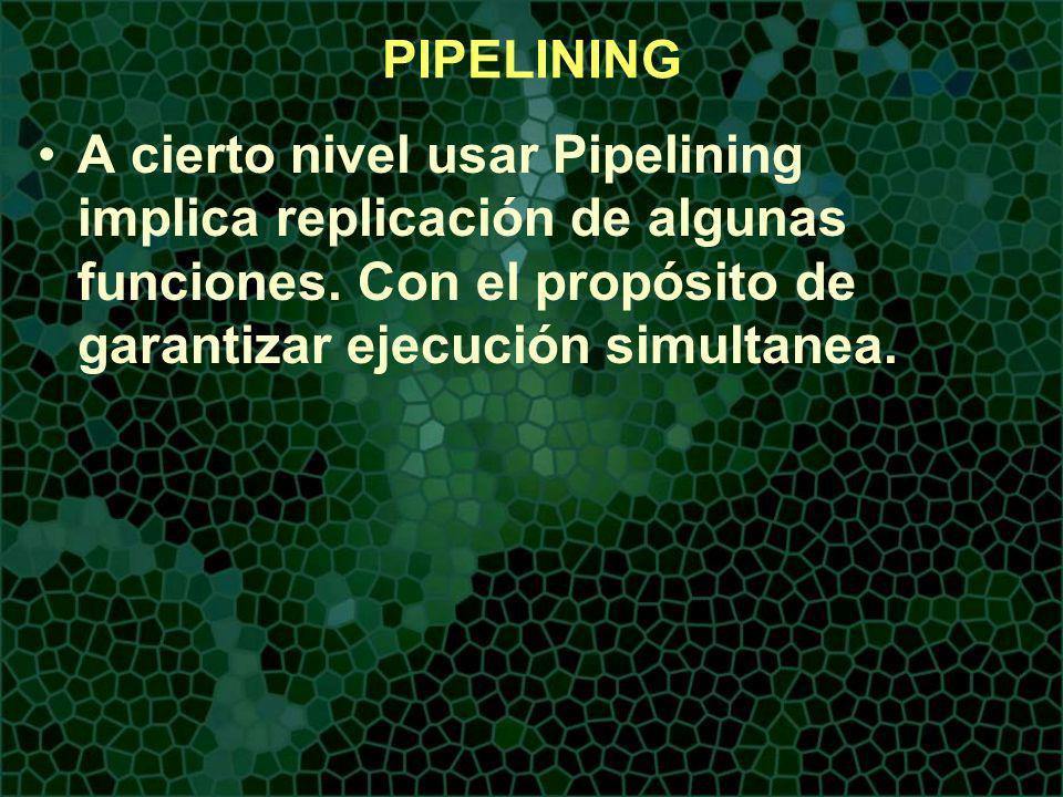 A cierto nivel usar Pipelining implica replicación de algunas funciones.