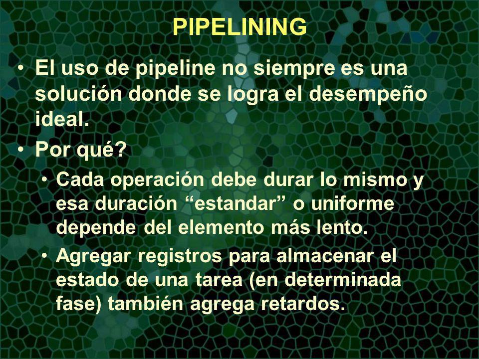 PIPELINING El uso de pipeline no siempre es una solución donde se logra el desempeño ideal.